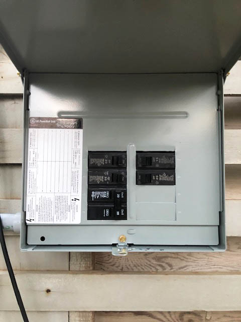 This picture shows a sub panel installation in Livermore. The panel distributes the electricity to a new circuit for a garage